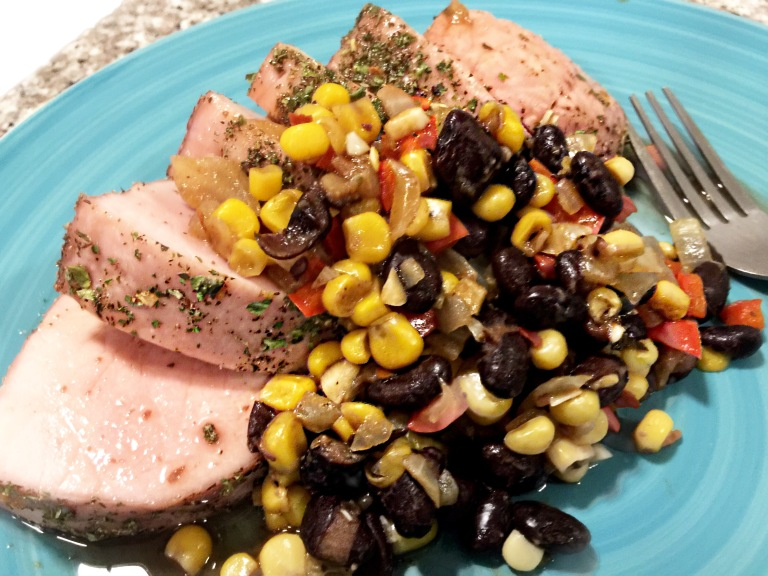 Moroccan Pork Loin with Blackberry Glaze and Fou Maque Choux