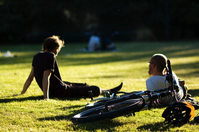 Cyclists relaxing